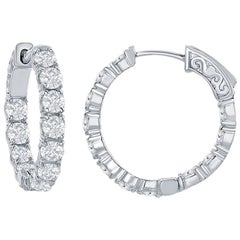 3.12 Ct. Diamond Hoops Earrings
