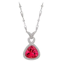 31.24 Carat Pink Tourmaline 4.38 Carat Diamond Pendant Necklace