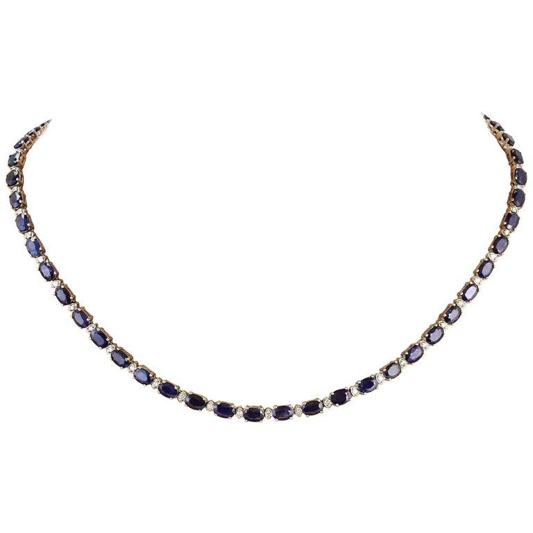 31.25 Carat Natural Sapphire 18 Karat Solid White Gold Diamond Necklace For Sale