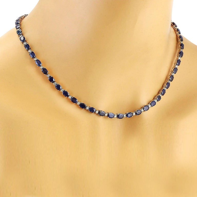 31.25 Carat Natural Sapphire 18K Solid White Gold Diamond Necklace  Item Type: Necklace  Item Style: Tennis  Item Length: 17 Inches  Material: 18K White Gold  Mainstone: Sapphire  Stone Color: Blue  Stone Weight: 30.00 Carat  Stone Shape: Oval