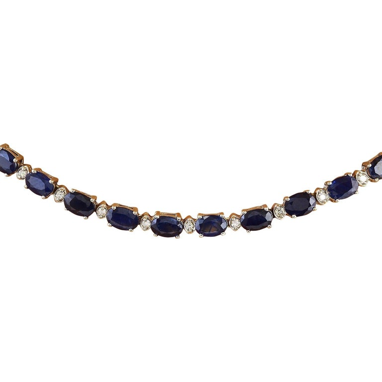 31.25 Carat Natural Sapphire 18 Karat Solid White Gold Diamond Necklace In New Condition For Sale In Los Angeles, CA