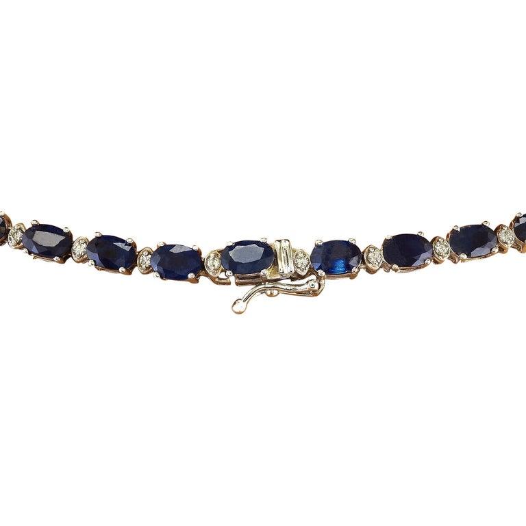 Women's 31.25 Carat Natural Sapphire 18 Karat Solid White Gold Diamond Necklace For Sale