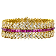 31.28 Carat 18 Karat Yellow Gold Ruby Diamond Wide Bracelet
