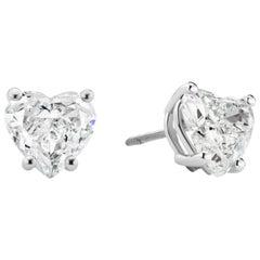 3.13 and 3.39 Carat Heart Shape Diamond and Platinum Stud Earrings