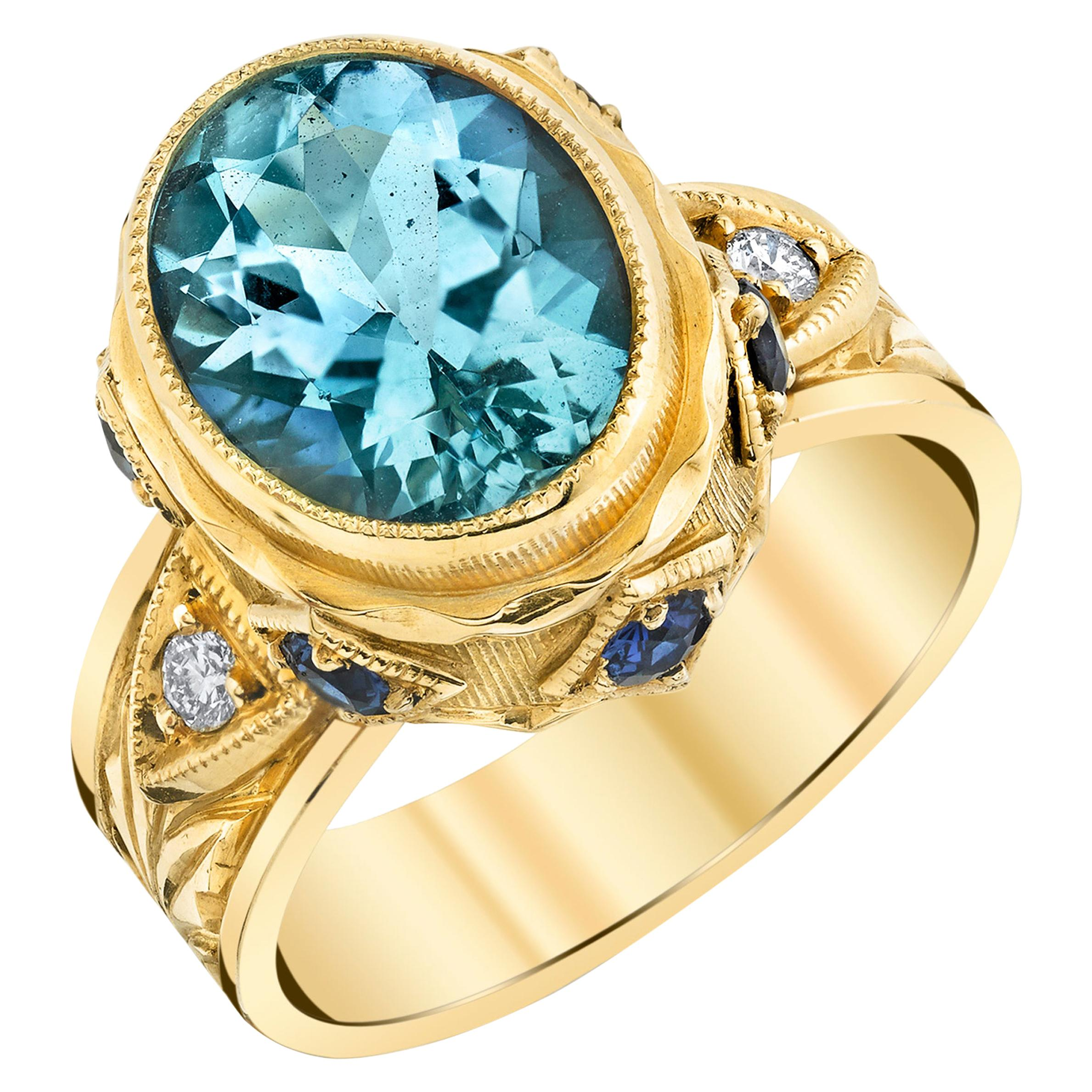 3.13 ct. Aquamarine, Blue Sapphire, Diamond Yellow Gold Engraved Bezel Band Ring