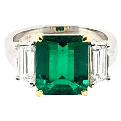 3.13 Carat Colombian Emerald and Diamond Ring
