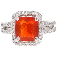 3.13 Carat Fire Opal Diamond Cocktail White Gold Ring