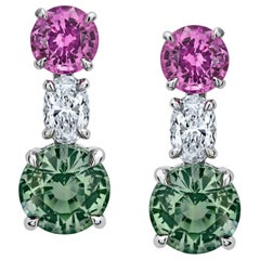3.13 Carat Green and Pink Round Sapphire and Diamond Earrings