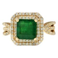 3.13 Carat Natural Emerald 18 Karat Yellow Gold Diamond Ring