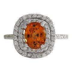 3.13 Carat Natural Sapphire 18 Karat White Gold Diamond Ring