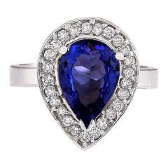 3.13 Carat Natural Tanzanite 18 Karat White Gold Diamond Ring