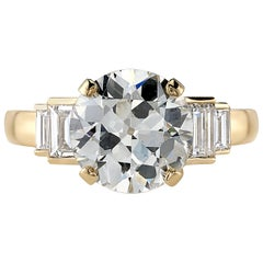 3.13 Carat Old European Cut Diamond Set in an 18 Karat Yellow Gold Ring