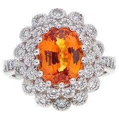 3.13 Carat Oval Cut Orange Sapphire Gemstone 14 Karat White Gold Diamond Ring
