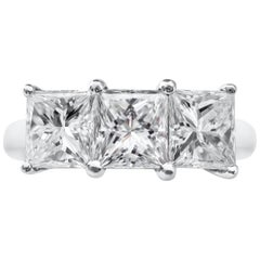 3.13 Carat Princess Cut Diamond Three-Stone Wedding Band