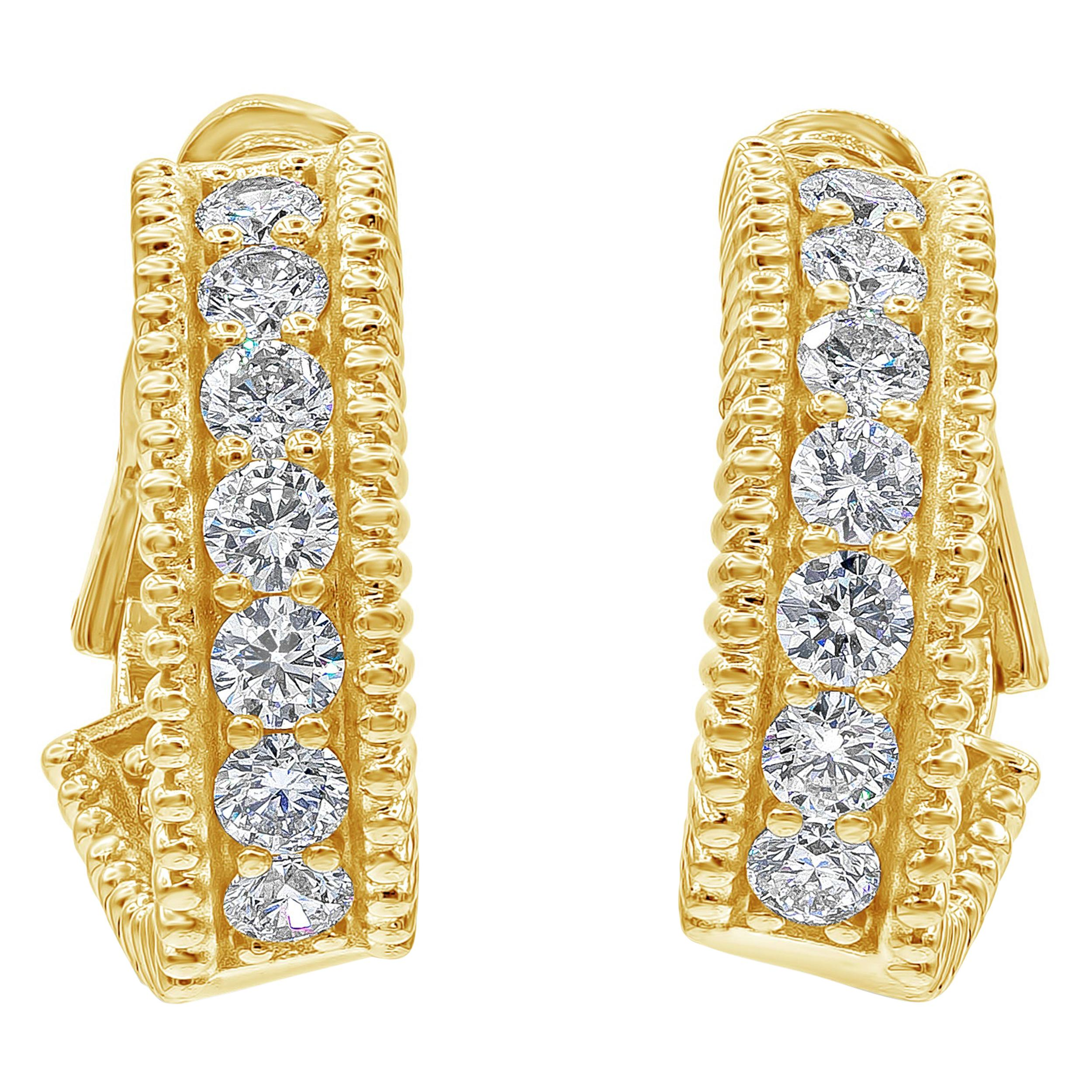 Roman Malakov, 3.13 Carat Round Diamond Curved Hoop Earrings