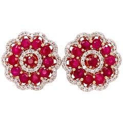 3.13 Carat Ruby Diamond Rose Gold Earrings