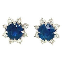 3.13 Carat Unheated Burmese Blue Sapphire and White Diamond Gold Earrings