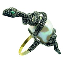 31.37Ct Pearl, 0.17Ct Emerald, 1.95Ct Diamonds Ring Sterling Silver, 14K Gold