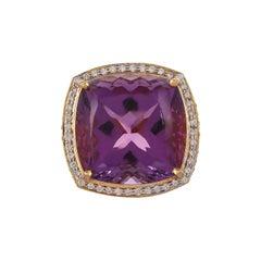 31.39 Carat Amethyst Ruby Diamond Cocktail Ring