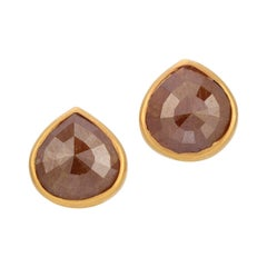 3.13ct Dark Amber Rustic Rose Cut Diamond Studs in 18k Matte Yellow Gold