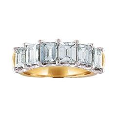 3.14 Carat Carre Cut Diamonds Gold Six-Stone Half Band Ring