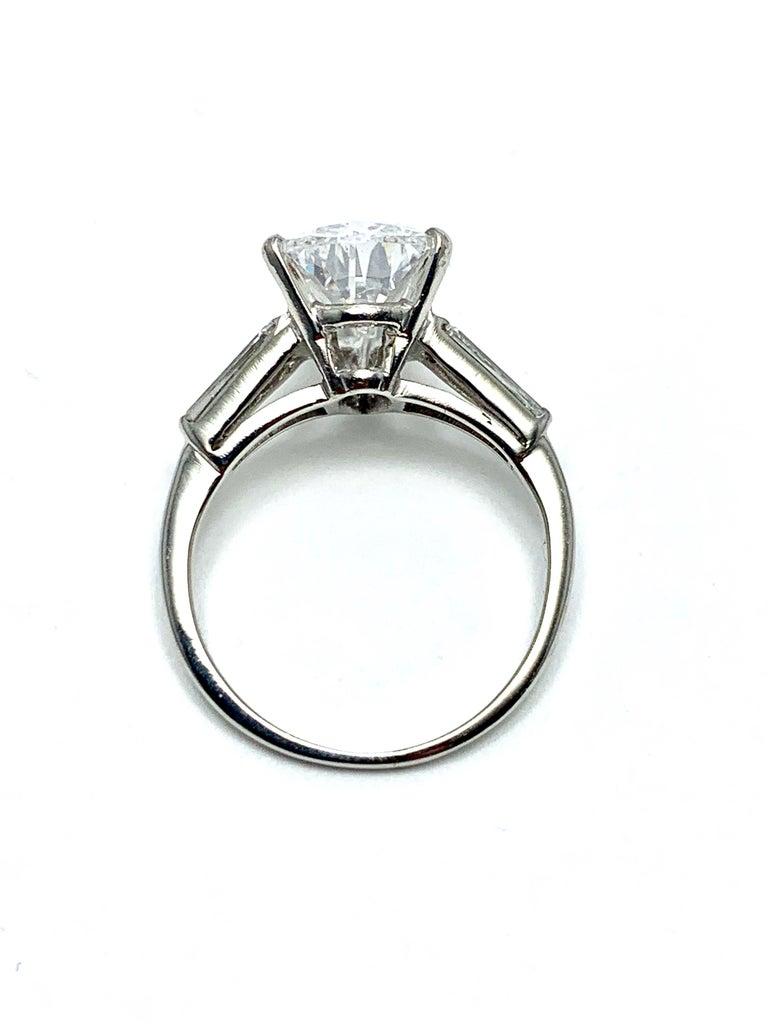 3.14 Carat D SI1 Pear Shape Diamond and Baguette Diamond Platinum Ring For Sale 1