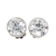 3.14 Carat Diamond Platinum Studs
