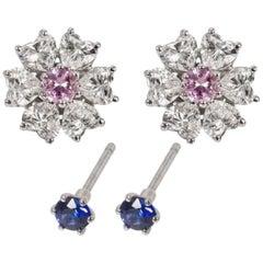 3.14 Carat Floral Interchangeable Diamond Earrings Set with Heart Shape Diamonds