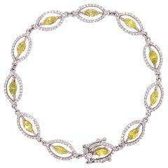 3.14 Carat Marquise Yellow Treated Diamond and White Diamond Bracelet