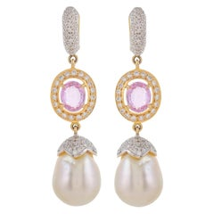 3.14 Carat Pink Sapphire South Sea Pearl Diamond 18 Karat Yellow Gold Earrings
