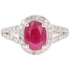 3.14 Carat Ruby Diamond 14 Karat White Gold Engagement Ring