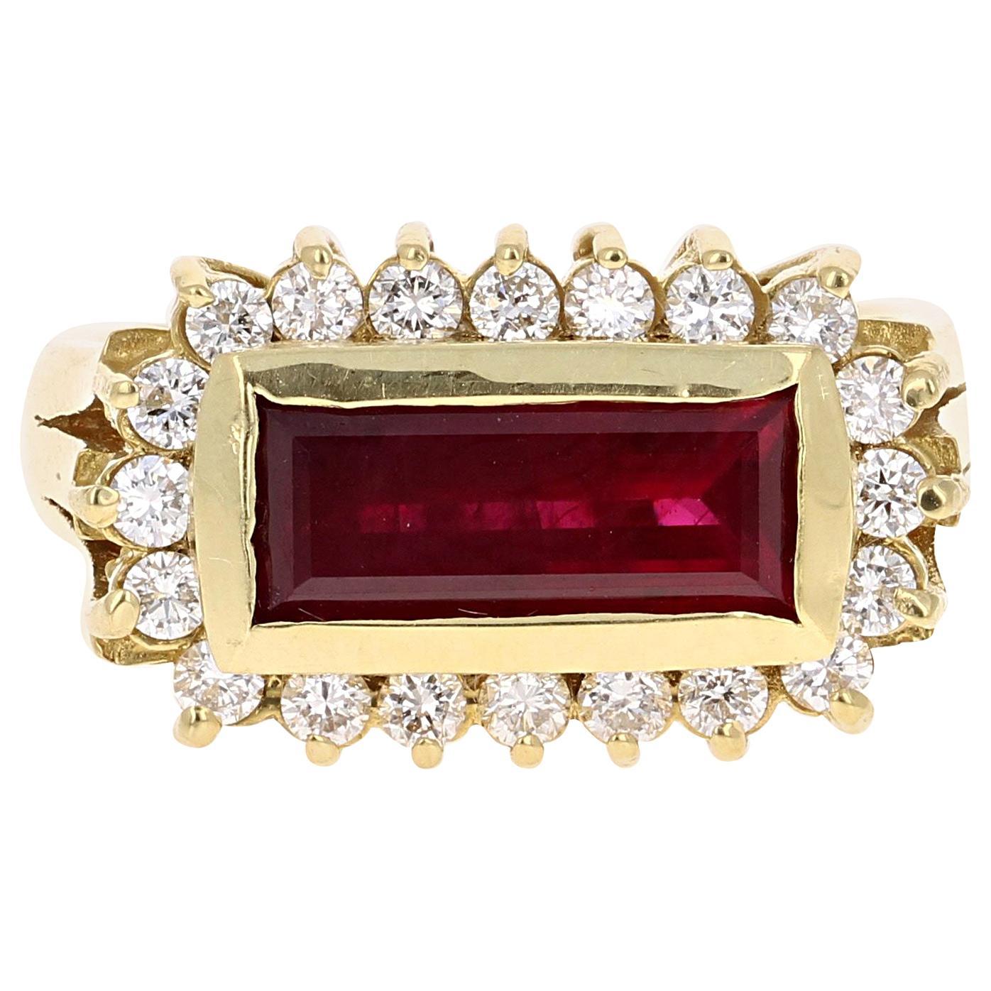 3.14 Carat Ruby Diamond 18 Karat Yellow Gold Ring