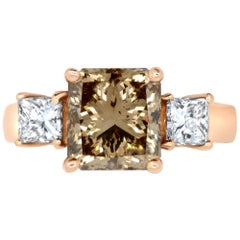 3.14 Natural Princess Cut Cognac Diamond and 0.78 White Diamond Ring