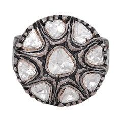 3.15 Carat Diamond Polki Handcrafted Vintage-Style Ring
