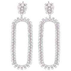 3.15 Carat Double Sided Diamond 18 Karat White Gold Earrings