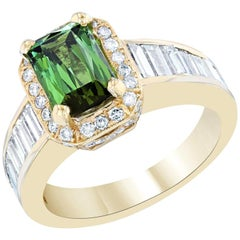 3.15 Carat Green Tourmaline Diamond 14 Karat Yellow Gold Ring