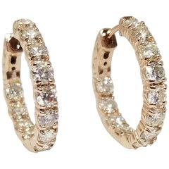 3.15 Carat Huggie Diamond Hoops Earrings 14 Karat Gold