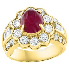 3.15 Carat Natural Burma Cabochon Ruby and 1.79 Carat Diamond 18 Karat Gold Ring
