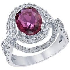3.15 Carat Oval Cut Pink Tourmaline Diamond White Gold Cocktail Ring