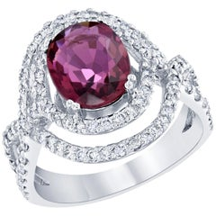 3.15 Carat Oval Cut Pink Tourmaline Diamond White Gold Cocktail Ring
