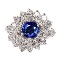 3.15 Carat Sapphire Diamond Vintage Cocktail Ring Royal Blue Estate Halo Ring