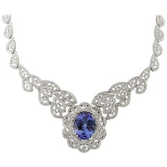 31.51 Carat Tanzanite 18 Karat White Gold Diamond Necklace