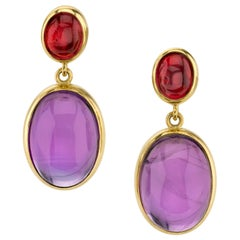 31.56 Carat Amethyst Cabochon and Pink Tourmaline Cabochon Earrings 18k Gold