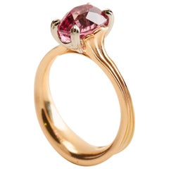 3.16 Carat Burma Pink Spinel Solitaire Ring in Platinum and 18 Karat Rose Gold