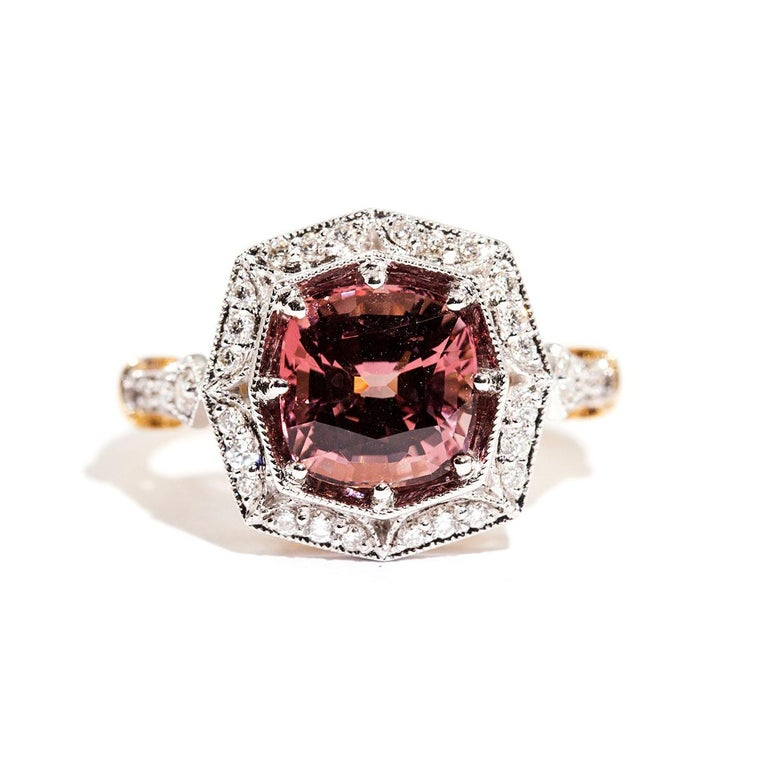 3.16 Carat Cushion Cut Red Pink Spinel and Diamond 18 Carat Gold Halo Ring For Sale 10