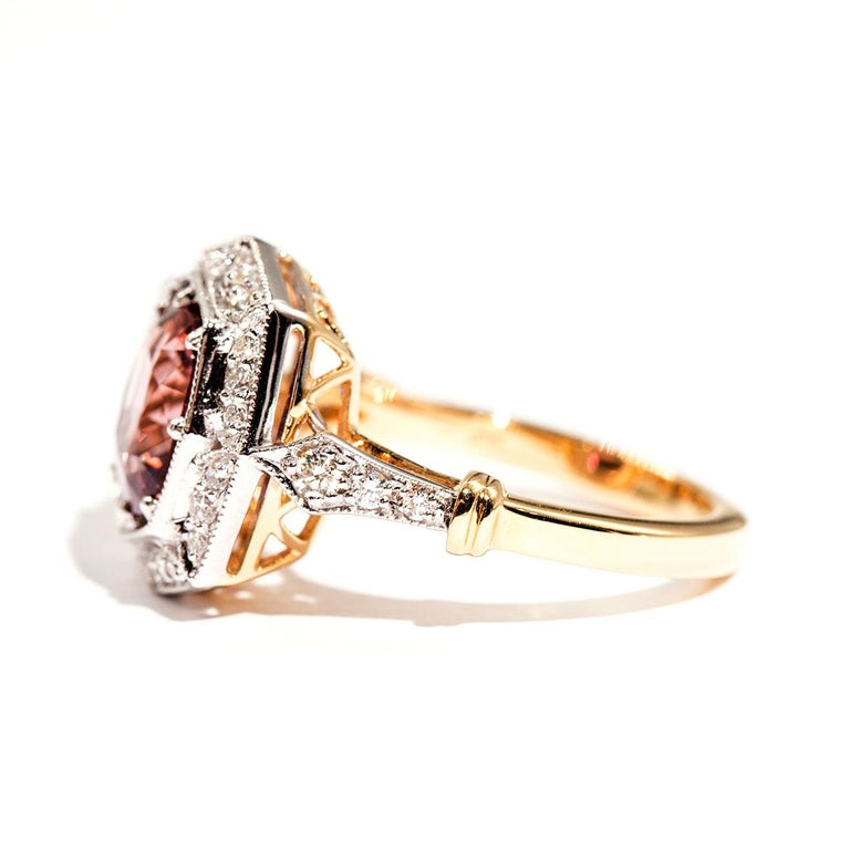 Women's 3.16 Carat Cushion Cut Red Pink Spinel and Diamond 18 Carat Gold Halo Ring For Sale
