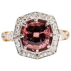 3.16 Carat Cushion Cut Red Pink Spinel and Diamond 18 Carat Gold Halo Ring
