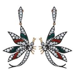 3.16 Carat Diamond and Enamel Earrings