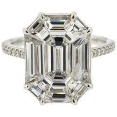 3.16 Carat Emerald Cut Illusion Diamond Ring 18 Karat White Gold