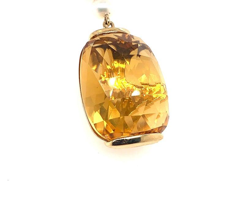 Cushion Cut 31.6 Carat Honey Quartz Earring in 18 Karat Yellow Gold with Diamonds For Sale